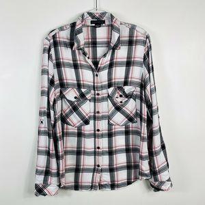 Sanctuary Plaid Snap Button Shirt Top